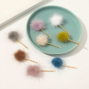Women Solid Color Faux Fur Hairpin Fluffy Plush Hair Pins Snap Barrette Clips