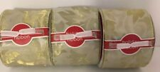 """NEW Target Gold Floral Print Wired Ribbon Garland, 3 spools each 3"""" W x 15"""" L"""