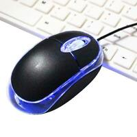 Wired USB Optical Mouse Light Scroll Wheel Mice for Laptop Computer PC Black