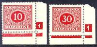 TSCHECHOSLOWAKEI PORTO 1928 Portomarken 10 postfr. Pra.-Stücke PLATTEN-NR ABART