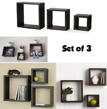 Floating Wall Shelf Mount Rack set of 3 square shelves Home Decor book Storage