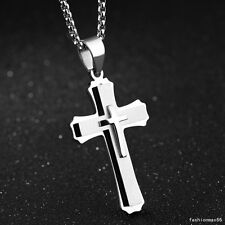Mens Womens Silver Stainless Steel Vintage Charm Cross Pendant Necklace Jewelry