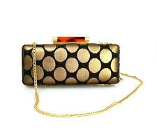 Diane Von Furstenberg DVF Tonda Black Gold Print Clutch Bag Handbag