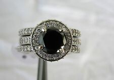 3.14ctw BLACK DIAMOND ENGAGEMENT & WEDDING RING SET*3 RINGS*CERT OF AUTHENTICITY