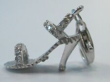 """14k White Gold Diamond Stiletto High Heel Shoe Charm Lobster Clasp by OR 1"""" long"""