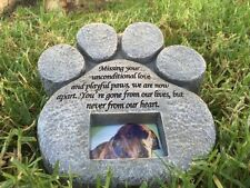 Paw Print Pet Memorial Stone Marker Grave Tombstone Cremation Ashes Dog Urn Cat