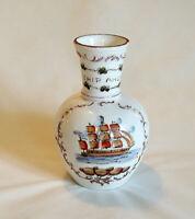 Vintage Fenton Charleton Vase.. Hand Painted Milk Glass.. SHIP AHOY Nautical