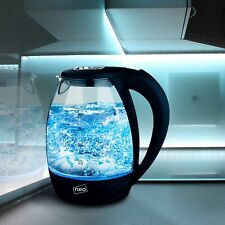 Neo Blue LED Illuminated Electric Glass Kettle 1.7L Cordless Portable Design