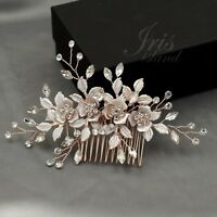 Bridal Hair Comb Crystal Headpiece Hair Clip Wedding Accessory 04102 ROSE GOLD