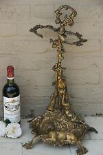 French vintage 1950 Bronze umbrella stand holder hunt trophy rabbit dog horn