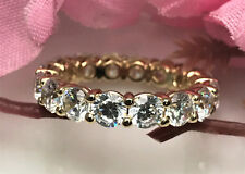 Wedding Ring 14k Yellow Gold Cubic Zirconia Eternity Band AAA Quality .20 each