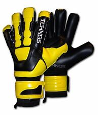 ICHNOS HYBRID BLACK YELLOW SOCCER FOOTBALL FINGERSAVE GOALKEEPER GLOVES SIZE 9