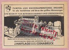 OSNABRÜCK, Werbung 1950, J. Hartlage Maschinen-Pumpen-Fabrik OSNA