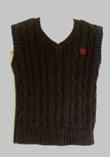 Chaps Black V-Neck Cable Knit Sweater Vest Boys Size 4