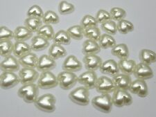 1000 Ivory Heart Half Pearl Beads 6X6mm Flat Back Scrapbook Craft