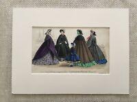 Antico Moda Stampa Vittoriano Abito Costume Mano Colorato Incisione Raro 1861
