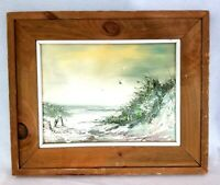"Oil Painting Signed Seascape Seagulls Ocean Rustic Wood Frame No Glass 19"" x 23"""