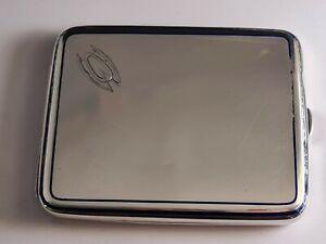 Art Deco French  Sterling Silver 950 Cigarette Case With Cobalt Blue Enamel 102g