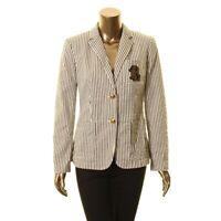 LAUREN RALPH LAUREN Women's Cream Striped Embroidered Blazer Jacket Top 8 TEDO