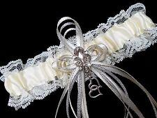 PLUS SIZE Ivory Cream Satin and Lace GARTER Belt Prom Wedding Bridal Rhinestones