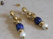 Chaumet Paris Simply Divine Drop Earrings 1980's 18ct Yellow Gold, Pearls, Lapis