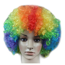 Men/Lady Clown Afro Hair Football Fan Costume Cosplay Adult Curly Wigs Mix Color