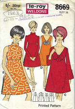 "1960s Vintage Sewing Pattern B36"" DRESS (1863) Barbara Hulanicki (Biba)"