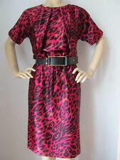 NEW ST JOHN KNIT 4  SILK ANIMAL PRINT DRESS RASPBERRY BLACK GOLD