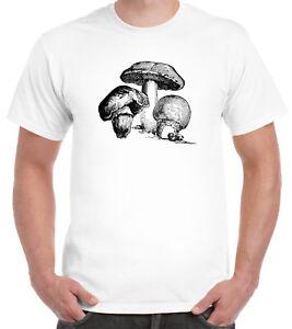 Victorian Mushroom Drawing T-Shirt Clubbing Hippie Sixties Trip