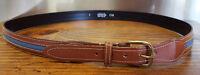 Leather Belt-Size L36-Brown w Blue Fabric Stripe-Metal Buckle-Dominican Republic