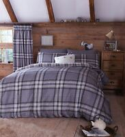 EDINBURGH KING SIZE GREY TARTAN PLAID REVERSIBLE COTTON DUVET COVER SET