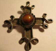 Vintage Large Benedikt Ny Signed Amber/Cat Jeweled Celtic Maltese Cross Pendant