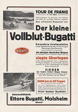Der kleine Vollblut Bugatti Tour de France Sieger Plakat Braunbeck Motor A3 307