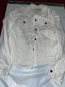 Talbots White Stretch Cotton Denim Classic Button Front Jean Jacket Size M