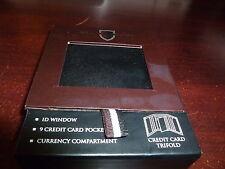 NIB Black Brown Men's Premium Leather Trifold Wallet in Black.