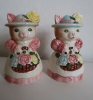 Cat Salt & Pepper Shakers With Stoppers Vintage Retro Kitsch Hats Pots