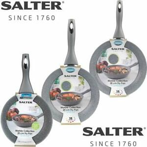 Salter Marblestone Non Stick Frying Pan Induction Base Cool Handle 20 24cm 28cm