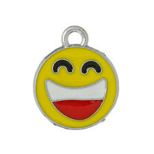 5 Silver Tone Yellow Enamel Laughing Smiley Face Charm Pendants che0398