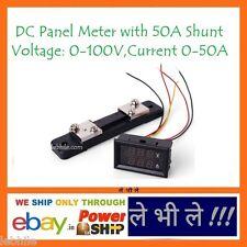 E45 DC 0-100V & 0-50A Red Blue Digital Voltmeter Ammeter Panel Meter with Shunt