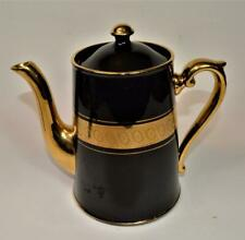 "Gibson & Sons England Late Davenport Sevres Black & Gold Decor 7 1/2"" Coffee Pot"