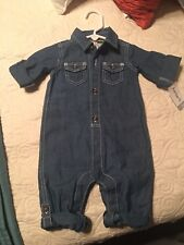 """BNWT'S One Piece Denim Outfit """"Little Captain"""" By Carters, Size 6 Months"""