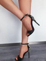 Jewelled Sandals Peep Toe High Heels Crossdresser Drag Queen Black Satin Shoes