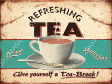 Refreshing Tea Metal Sign, British food, Drink, Kitchen Decor