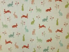 MARSON HARES CORAL TEAL RABBIT PRINT NURSERY CHILDRENS COTTON CURTAIN FABRIC