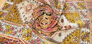 Bohemian Antique 1939-1945's Muted Natural Dye Wool Pile Rug 3'5'' x 4'10''