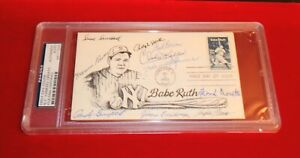 Babe Ruth FDC Signed by 9 New York Yankee Greats-PSA AUTHENTICATED