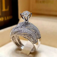 925 Silver White Topaz Set Infinity Fashion Jewelry Women Wedding Ring Sz 6-10