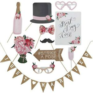 Wedding Photo Booth Props | Just Married Banner Bunting Boho Wedding Decorations
