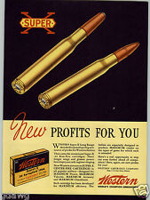 1938 PAPER AD 2 Sided COLOR Western Super X Ammo Ammunition Cartridge