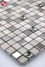 Glasmosaik Edelstahl Marmorierte Mosaik glasfliesen marmoriert Beige Silber Grau